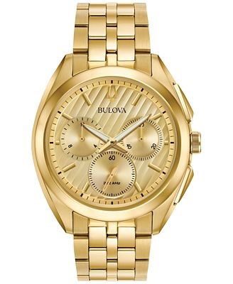 bulova s chronograph curv gold tone stainless steel