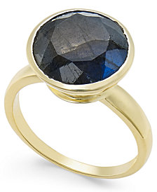 Paul & Pitü Naturally 14k Gold-Plated Labradorite Solitaire Ring