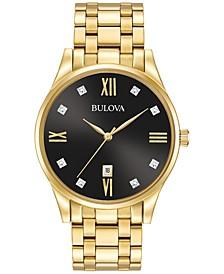 Men's Dress Diamond Accent Gold-Tone Stainless Steel Bracelet Watch 40mm 97D108