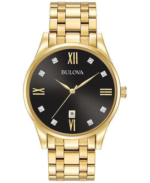Bulova Men's Dress Diamond Accent Gold-Tone Stainless Steel Bracelet Watch 40mm 97D108