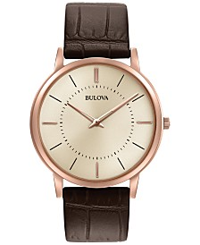 Bulova Men's Dress Brown Leather Strap Watch 40mm 97A126