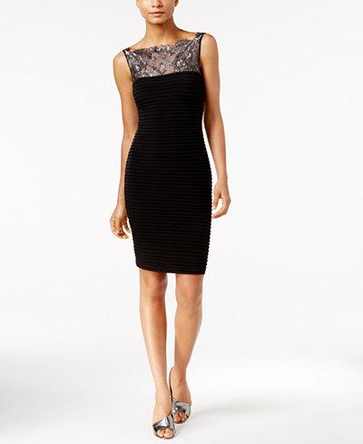 Calvin Klein Pleated Lace Illusion Sheath Dress - Dresses ...