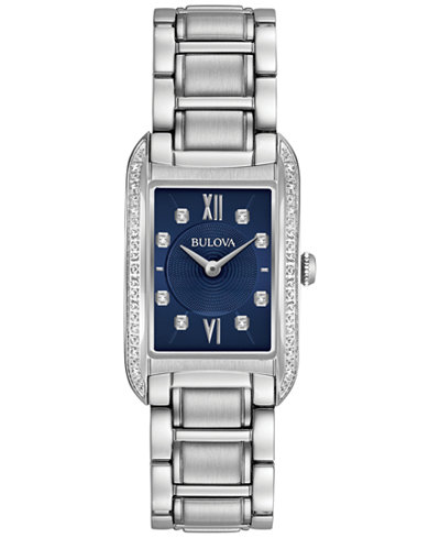 Bulova Women's Diamond Accent Stainless Steel Bracelet Watch 22x35mm 96R211