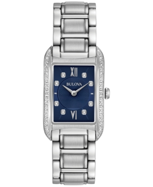 Bulova WOMEN'S DIAMOND ACCENT STAINLESS STEEL BRACELET WATCH 22X35MM 96R211