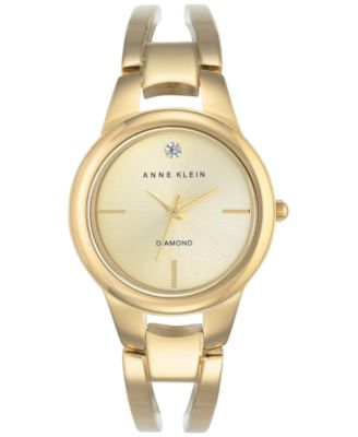 Image of Anne Klein Women's Diamond Acccent Gold-Tone Stainless Steel Bracelet Watch 30mm AK-2628CHGB