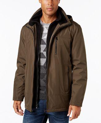 Calvin Klein Men's Hooded Fleece Lined Coat - Coats & Jackets ...