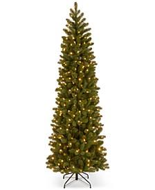 7.5' Feel Real Down Swept Douglas Fir Pencil Slim Christmas Tree with 350 Dual LED Lights