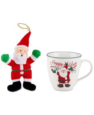 2-Pc. Winterberry Mug & Plush Santa Set, Created for Macy's