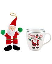 Pfaltzgraff 2-Pc. Winterberry Mug & Plush Santa Set, Created for Macy's