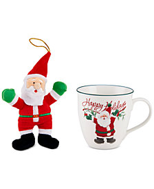 Pfaltzgraff 2-Pc. Winterberry Mug & Plush Santa Set, Created for Macy's