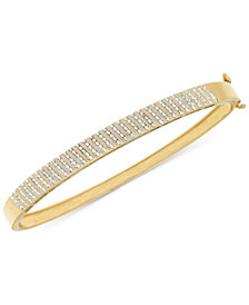 Diamond Pavé Hinged Bangle Bracelet (1/2 ct. t.w.) in 14k Gold-Plated Sterling Silver