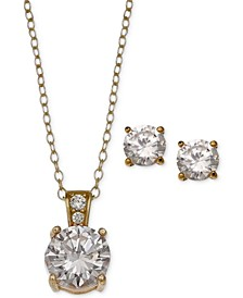 2-Pc. Set Cubic Zirconia Round Pendant Necklace and Stud Earring Set in 18k Gold-Plated Sterling Silver, 18k Rose Gold-Plated and Sterling Silver Created for Macy's