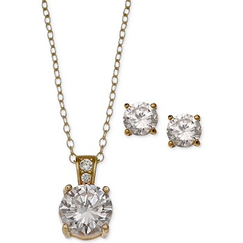 Giani Bernini Cubic Zirconia Pendant Necklace & Stud Earring Set