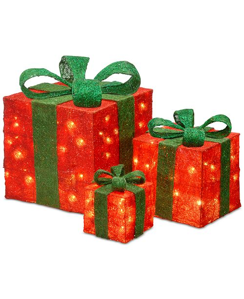 "National Tree Company 6"", 10"" & 14"" Assorted Red Sisal Gift Boxes with Clear Lights"