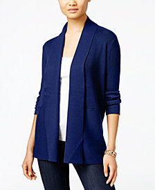 JM Collection Petite Open-Front Ribbed Cardigan, Created for Macy's