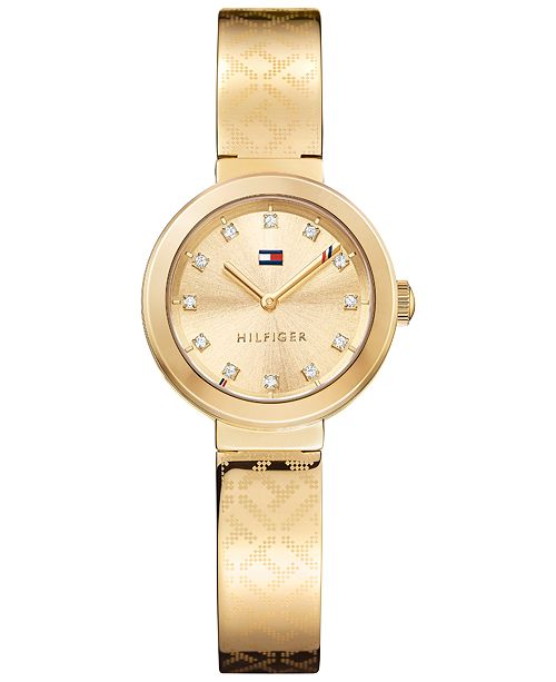 Tommy Hilfiger Women's Sophisticated Sport Gold-Tone Stainless Steel Bangle Bracelet Watch 28mm