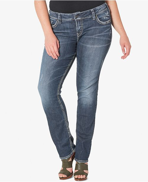 Silver Jeans Co. Plus Size Suki Medium Wash Straight-Leg Jeans