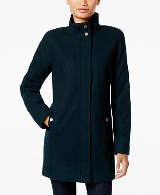 Lucky Brand Stand Collar Asymmetrical Walker Coat Coats
