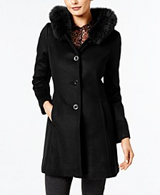 Fox-Fur-Trim A-Line Walker Coat, Created for Macy's