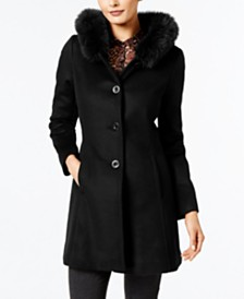 Forecaster Fox-Fur-Trim A-Line Walker Coat, Created for Macy's