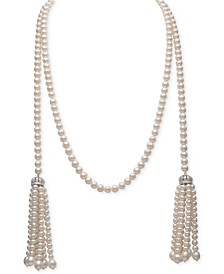 "Belle de Mer White Cultured Freshwater Pearl (4-7mm) and Cubic Zirconia 42"" Tasseled Long Strand Necklace"