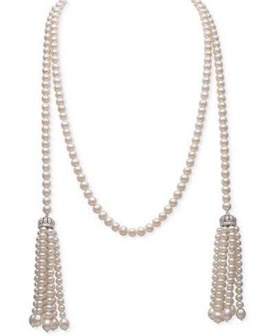 Belle de Mer White Cultured Freshwater Pearl (4-7mm) and Cubic Zirconia 42