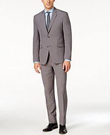 Portfolio Men's Slim-Fit Gray Sharkskin Suit