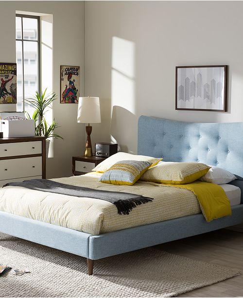 Furniture Jerell Modern Queen Linen Platform Bed, Quick