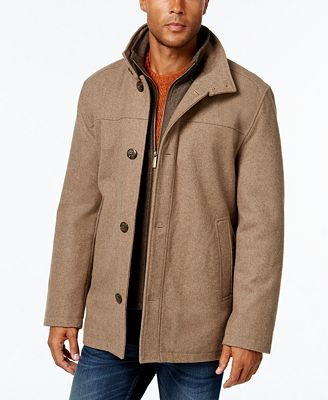 London Fog Men's Wool-Blend Layered Car Coat - Coats & Jackets