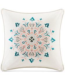 "Echo Sterling Embroidered Floral-Medallion 18"" Square Decorative Pillow"