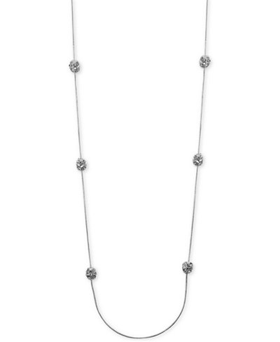 Anne Klein Silver-Tone Crystal Cluster Illusion Necklace
