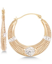 Crystal Ribbed Hoop Earrings in 10k Gold