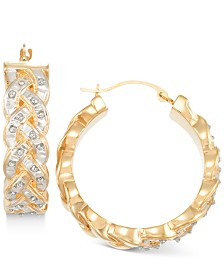 Signature Diamonds™ Interwoven Hoop Earrings in 14k Gold over Resin Core Diamond and Crystallized Diamond Dust