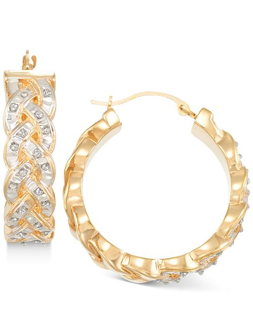 Signature Diamonds Interwoven Hoop Earrings in 14k Gold over Resin Core Diamond and Crystallized Diamond Dust