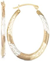 Tri-Tone Textured Oval Hoop Earrings in 10k Yellow, White and Rose Gold