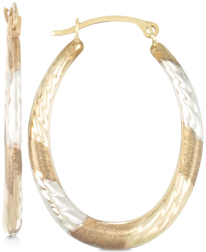 Macy's Tri-Tone Textured Oval Hoop Earrings in 10k Yellow, White and Rose Gold
