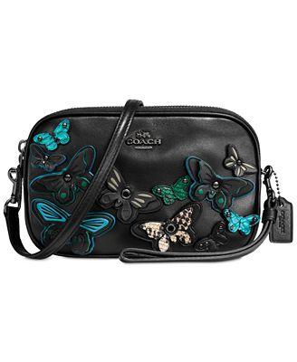 COACH Butterfly Appliqué Crossbody Clutch in Pebble Leather