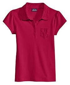 School Uniform Lace-Trim Polo, Big Girls
