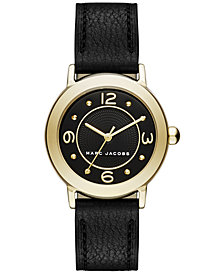 Marc Jacobs Women's Riley Black Leather Strap Watch 28mm
