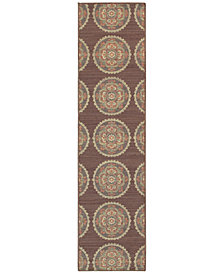 "Tommy Bahama Home Cabana Indoor/Outdoor 501M Brown 1' 10"" x 7' 6"" Runner Area Rug"