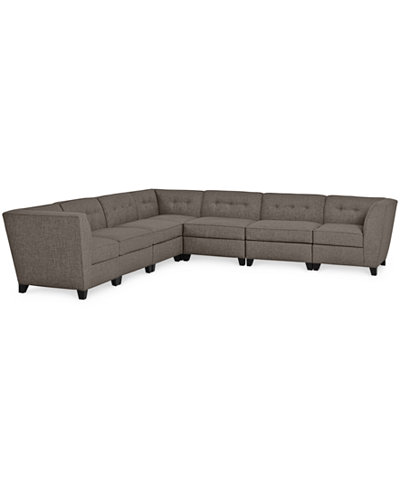 CLOSEOUT! Harper Fabric 6-Piece Modular Sectional Sofa, Created for Macy's