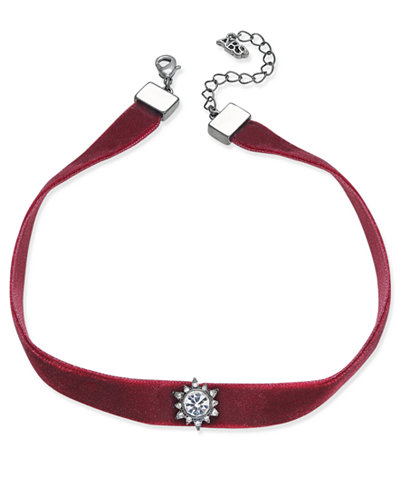 ABS by Alan Schwartz Gold-Tone Black Velvet Crystal Choker Necklace