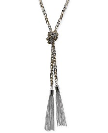 GUESS Two-Tone Long Knotted Tassel Lariat Necklace
