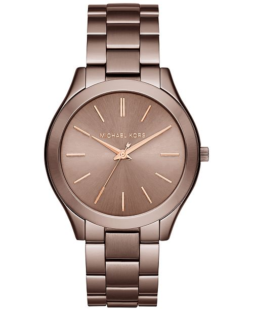 Michael Kors Women S Slim Runway Sable Ion Plated Stainless