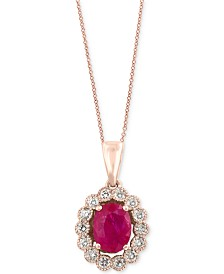 Amoré by EFFY® Certified Ruby (1-3/8 ct. t.w.) and Diamond (3/8 ct. t.w.) Bezel Pendant Necklace in 14k Rose Gold, Created for Macy's