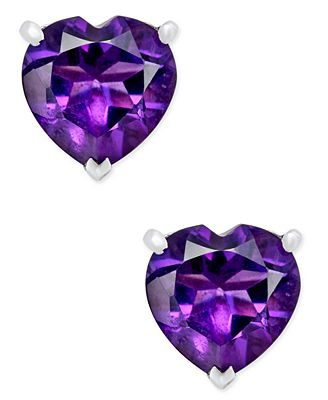 Amethyst Heart Stud Earrings 1 4 Ct T W In Sterling