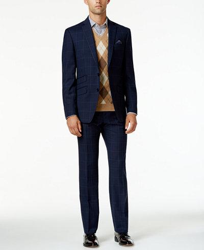 Tallia Men's Slim-Fit Navy Glen Plaid Suit