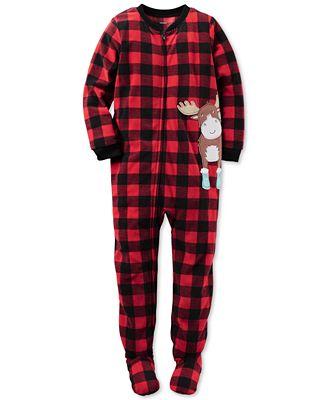 Carter's 1-Pc. Buffalo Check Moose Footed Pajamas, Little Boys (2 ...