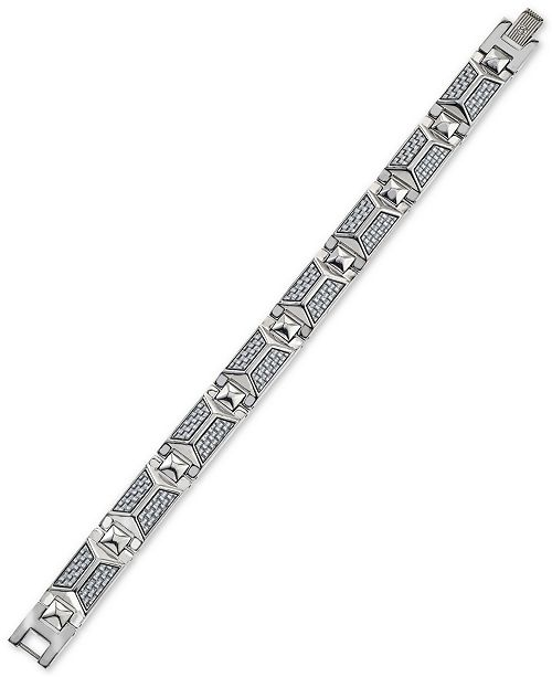 Esquire Men's Jewelry Bracelet in Blue-Gray Carbon Fiber and Stainless Steel, Created for Macy's