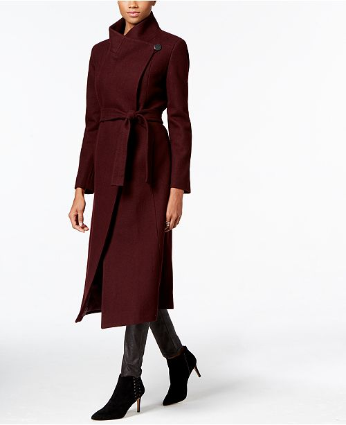 Kenneth Cole Asymmetrical Belted Maxi Wool Coat Reviews Coats